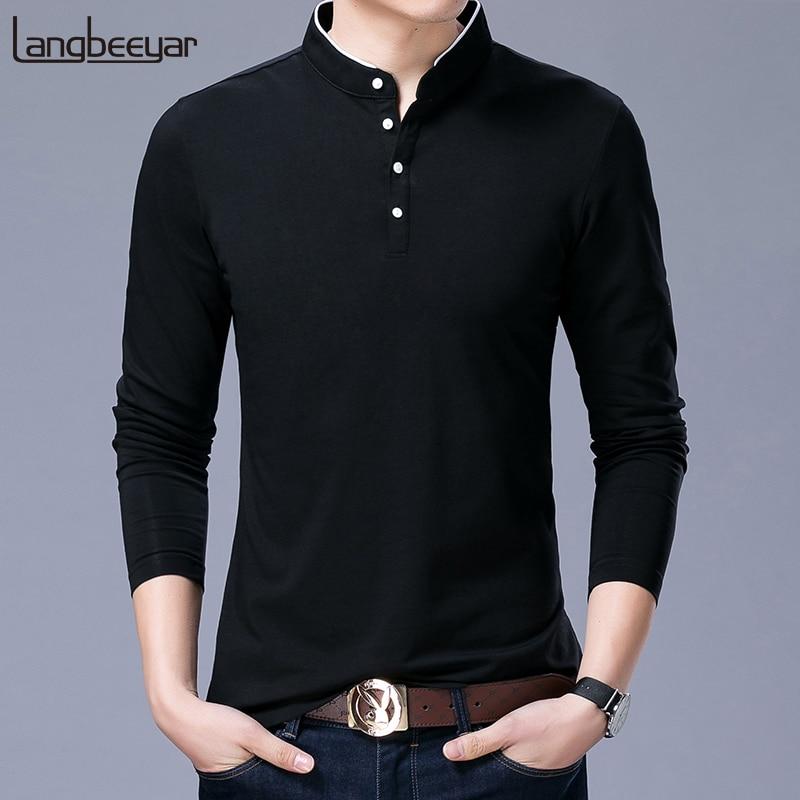 Hot Sell 2020 New Fashion Brand Clothing Polo Shirt Mens  Mandarin Collar Long Sleeve Slim Fit Boys Polos  Casual Men's Clothing