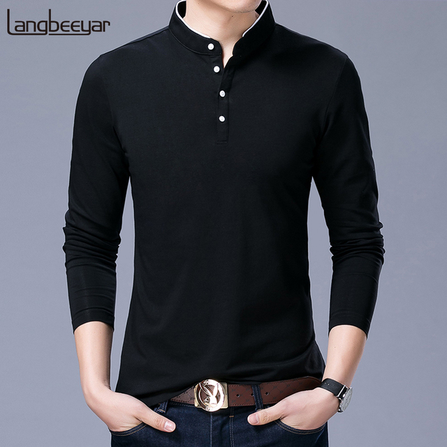 Hot Sell 2019 New Fashion Brand Clothing Polo Shirt Mens Mandarin Collar Long Sleeve Slim Fit