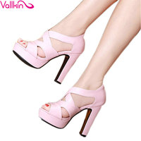 VALLKIN 2017 Sexy Peep Toe White Gladiator Summer Women Shoes Thick High Heel Woman Pumps Zipper