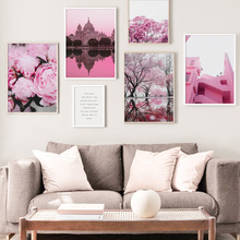 Pink Flower Tree Scenery Wall Art Canvas Painting Nordic Posters And Prints Landscape Pictures For Living Room Home Decor