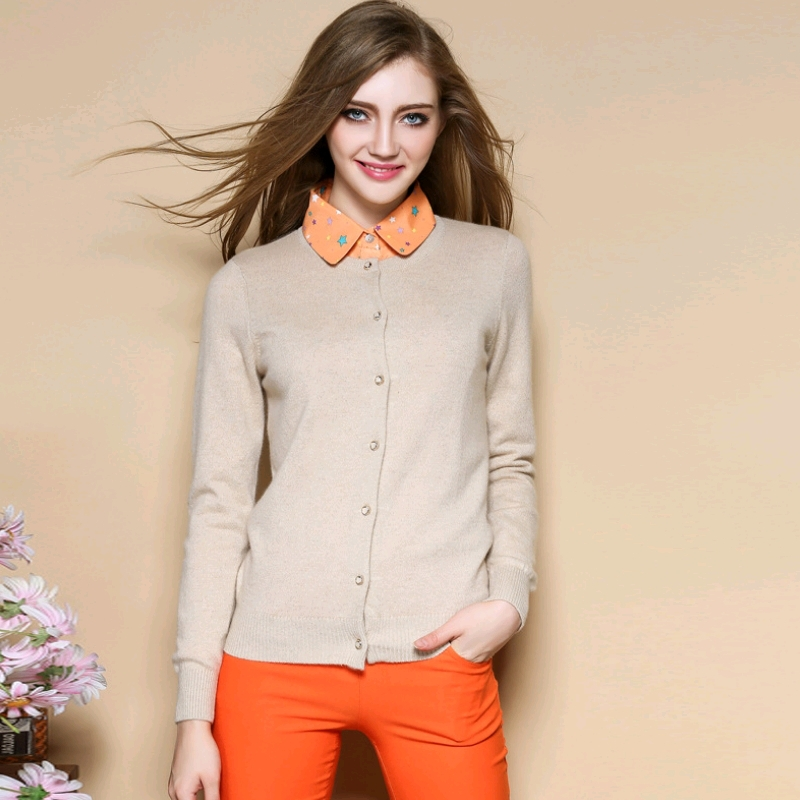 Women's 100% Pure Cashmere Cardigan Ladies Basic Solid Goat ...