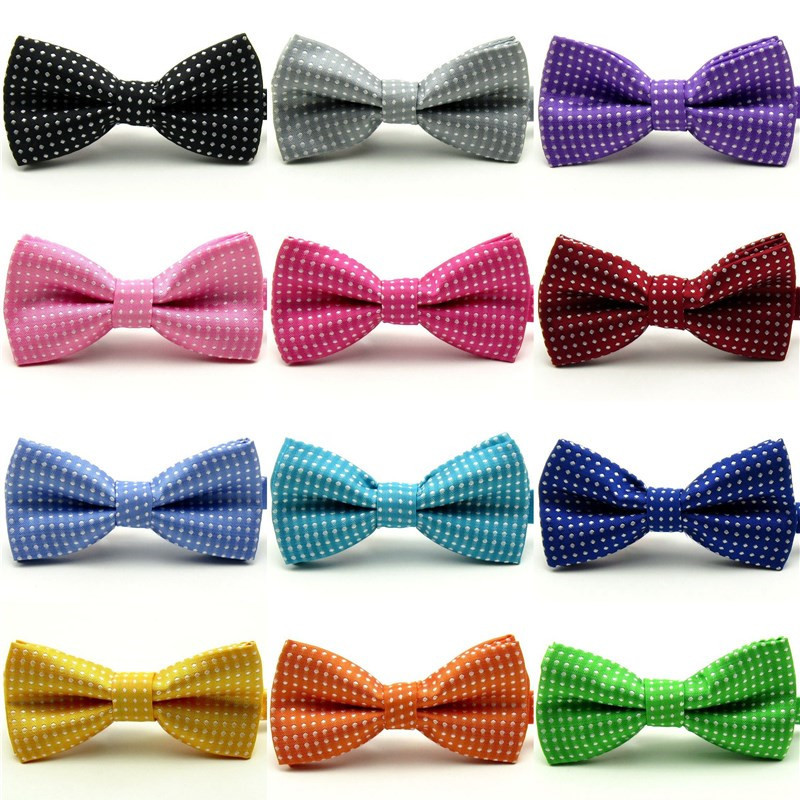Hot Solid Color Bow Tie For Men Tuxedo Children's Bows Performing Wave Point  Necktie Ties Wholesale Wedding Party
