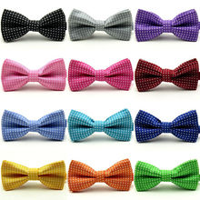 Hot Solid Color Bow Tie For Men Tuxedo Children's Bows Performing Wave point Necktie Ties Wholesale Wedding Party(China)