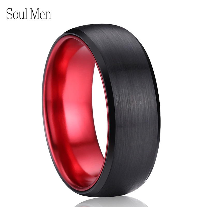 купить 8mm Black & Red Color Brushed Dome Tungsten Carbide Ring Comfort Fit Men's Wedding Band Cool Summer Finger Jewelry Size 9 to 13 по цене 1013.16 рублей