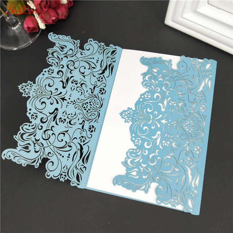 Invitation Cards Blank Inner Page Cream Horizontal Laser Cut Wedding With Hollow Flora Free Shipping High Quality 10pcs 7zsh073