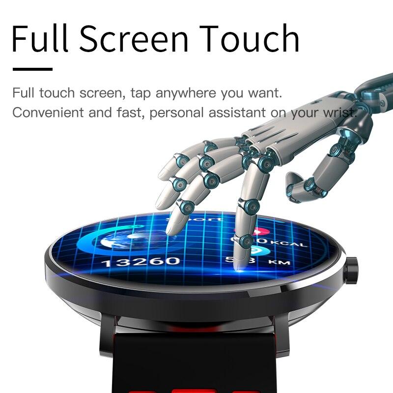 2019 nuevo reloj inteligente L6 Fitness para hombres Android con frecuencia cardíaca podómetro de presión arterial deportivo para hombres reloj inteligente impermeable Ip68-in Relojes digitales from Relojes de pulsera    1