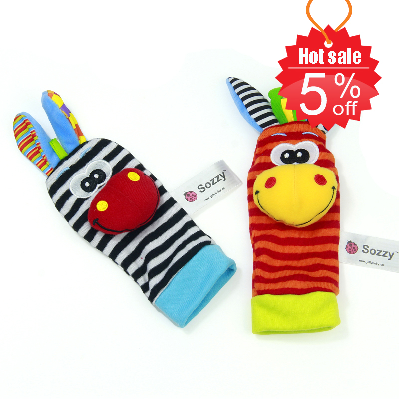 Sozzy-2pcs-Soft-Baby-Toy-Wrist-Strap-Socks-Cute-Cartoon-Garden-Bug-Plush-Rattle-with-Ring-Bell-0M-1