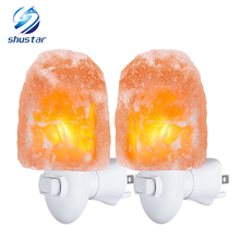 цены Mini Himalayan salt night light wall lamp bedroom bedroom home decoration novelty lighting for Air Purifying US EU UK AU Plug