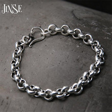 JINSE Fashion S925 Sterling Silver Bracelet Circles Chain Trendy Jewelry Lady Bangle Simple Color with Cute Link Chain Womens