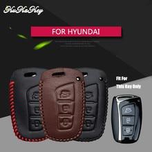 KUKAKEY Leather Car Key Fob Case Bag Shell Protected Cover For Hyundai Remote Smart Fob IX45 Santa Fe Tucson Key Pendant Emblem