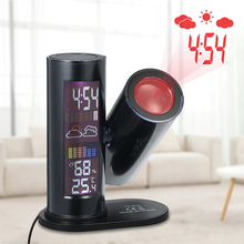 lcd Digital Thermometer Projection Alarm Clock 360 Degree Rotating Barometer Weather Indoor Temperature and Humidity Meter Day lcd projection digital thermometer hygrometer 360 degree rotating weather station clock desk bedside temperature humidity meter