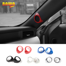 HANGUP ABS Car Interior A Pillar Door Audio Stereo Speaker Decoration Cover Trim For Ford Mustang 2015 Up Car Styling