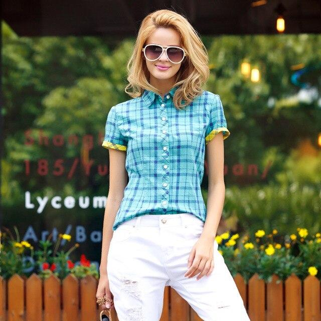 Veri Gude Plaid Shirts Women Short Sleeve Cotton Blouse For Summer