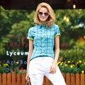Veri Gude camisas de tela escocesa mujeres manga corta de algodón blusa para verano de contraste de Color