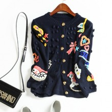 Europe and the United States women's new autumn 2016 Cartoon restoring ancient ways the manual hook is colored sweater coat