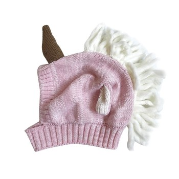 Children Baby Girls Cute Knitted Hat Ear Care Wool Unicorn Warm Baby Boys Knitted Cute Children Baby Girls Caps Accessories conjuntos casuales para niñas