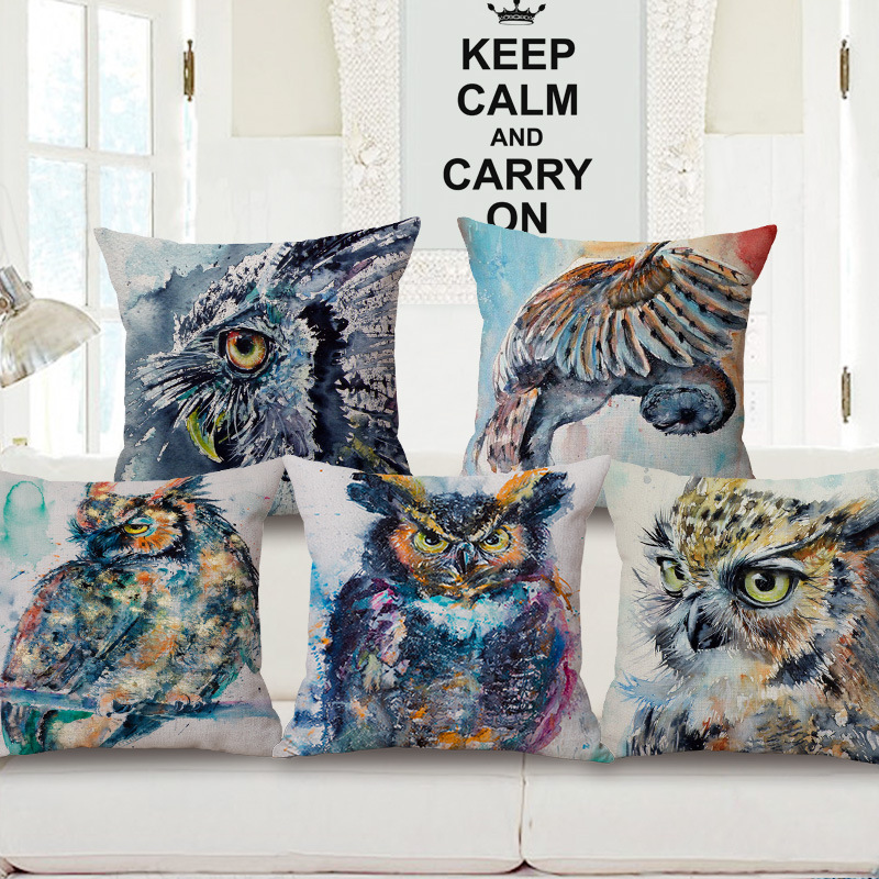 Raptor Owl Ink Painting One Side Printing Home Decor Sofa Car Seat Decorative Cushion Cover Pillow Case Capa Almofada