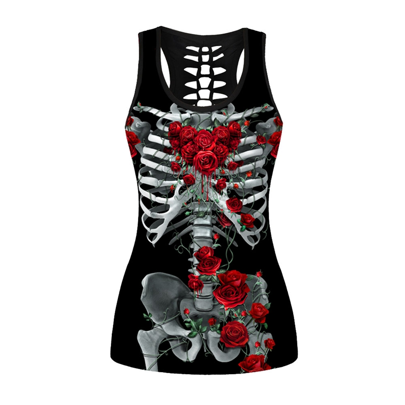 2018 Fashion Women Summer Behind Hollow Out Tank Tops Rose Skull 3D Print Sexy Sweatshirt Tank Tops Wholesale Price