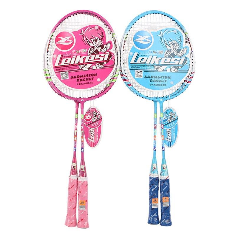 2pcs/lot  kids Children Iron Alloy Badminton Rackets  Outdoor Sports Fun Parent-child Lovely Cartoon Rackets