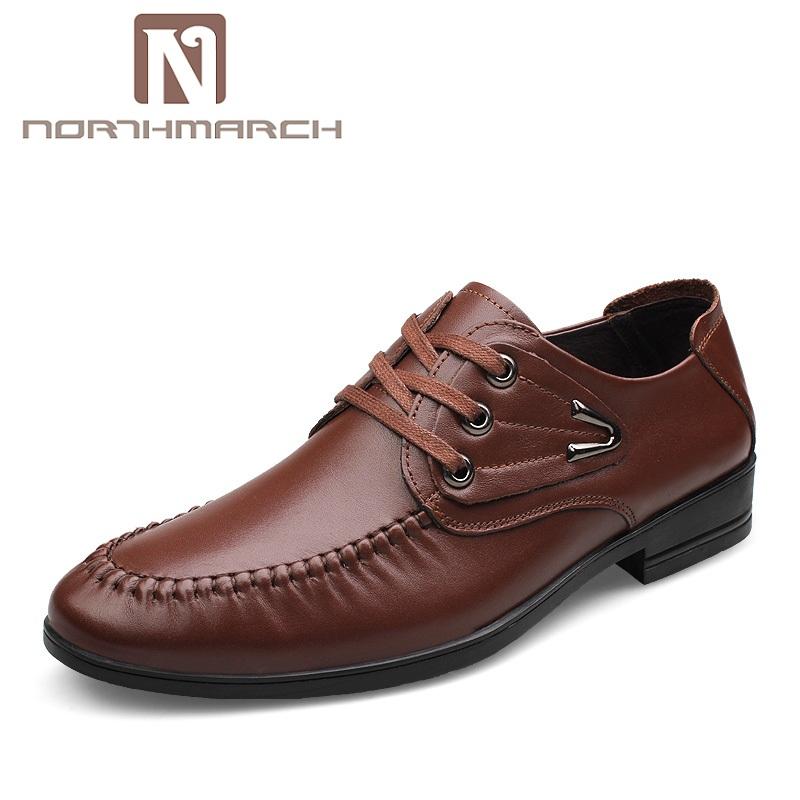 NORTHMARCH Genuine Leather Mens Dress Shoes High Quality Oxford Shoes For Men Lace-Up Business Men Shoes Brand Men Wedding Shoes mycolen leather mens dress shoes high quality breathable oxford shoes for men lace up business brand men wedding shoes