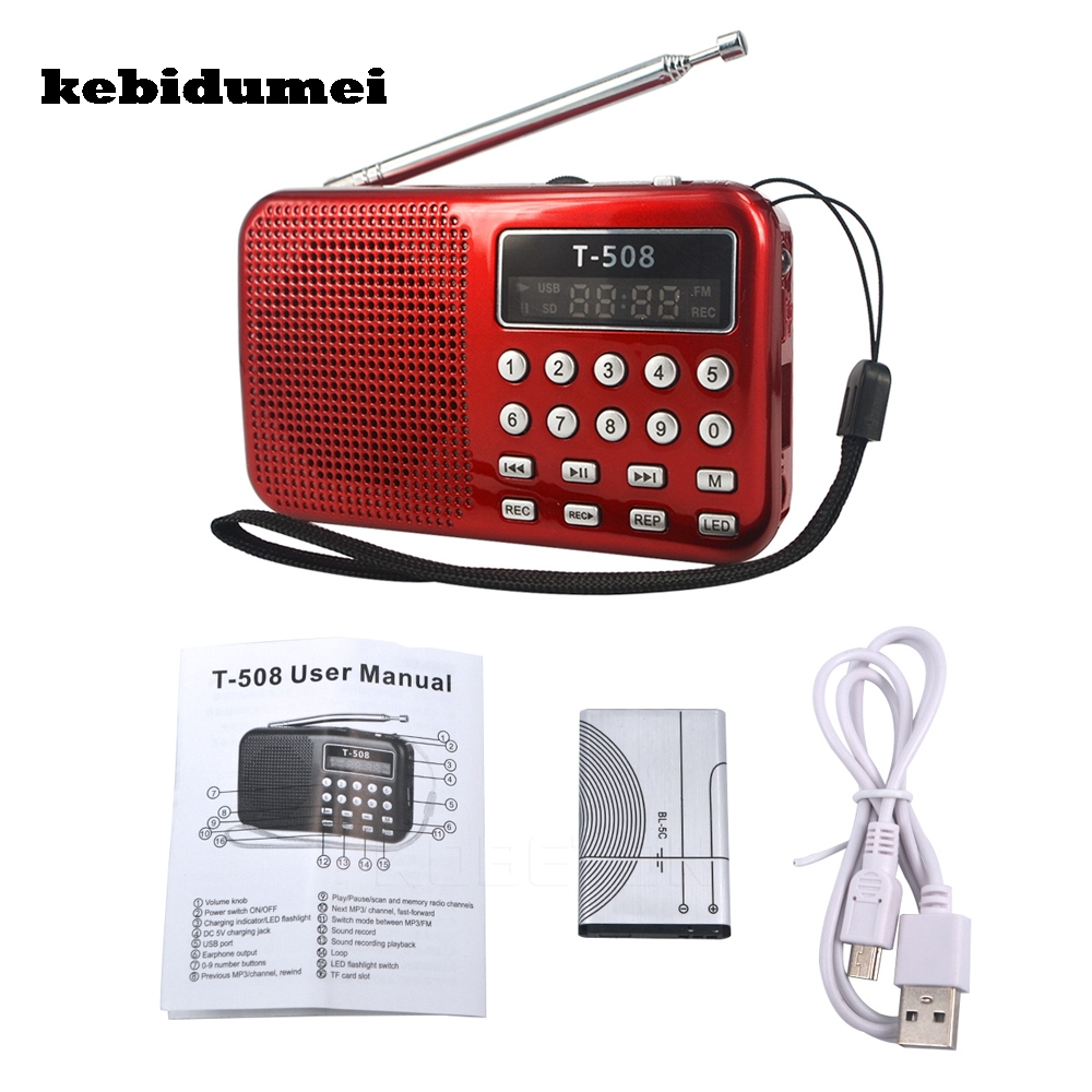 kebidumei LED Stereo FM Radio Speaker USB Port TF Card MP3 Music Player with 3 Color 50mm Internal Magnetic Radio Wholesale