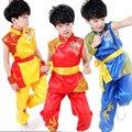 Menino Dança Popular Chinesa Manga Longa Roupas Terno kungfu Chinês Tradicional Roupas Trajes Nacionais de Dança das Crianças