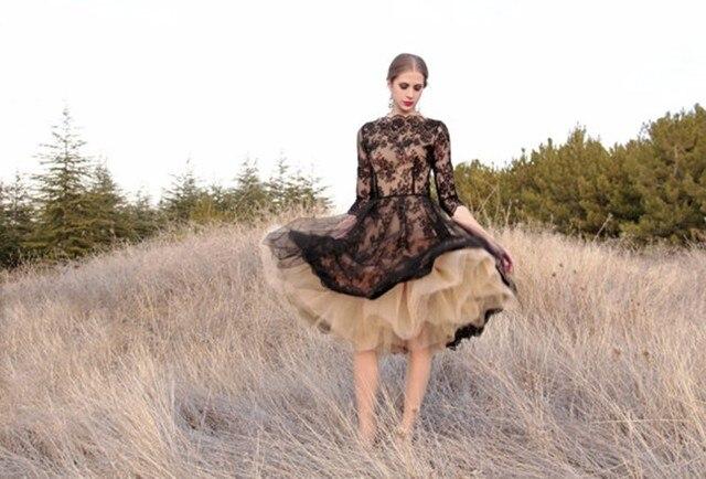 Curto black Lace vestidos de Baile 2017 Nova Popular Sexy Alta Neck Metade Mangas vestido de Baile de Tule Personalizar Vestidos de Festa À Noite