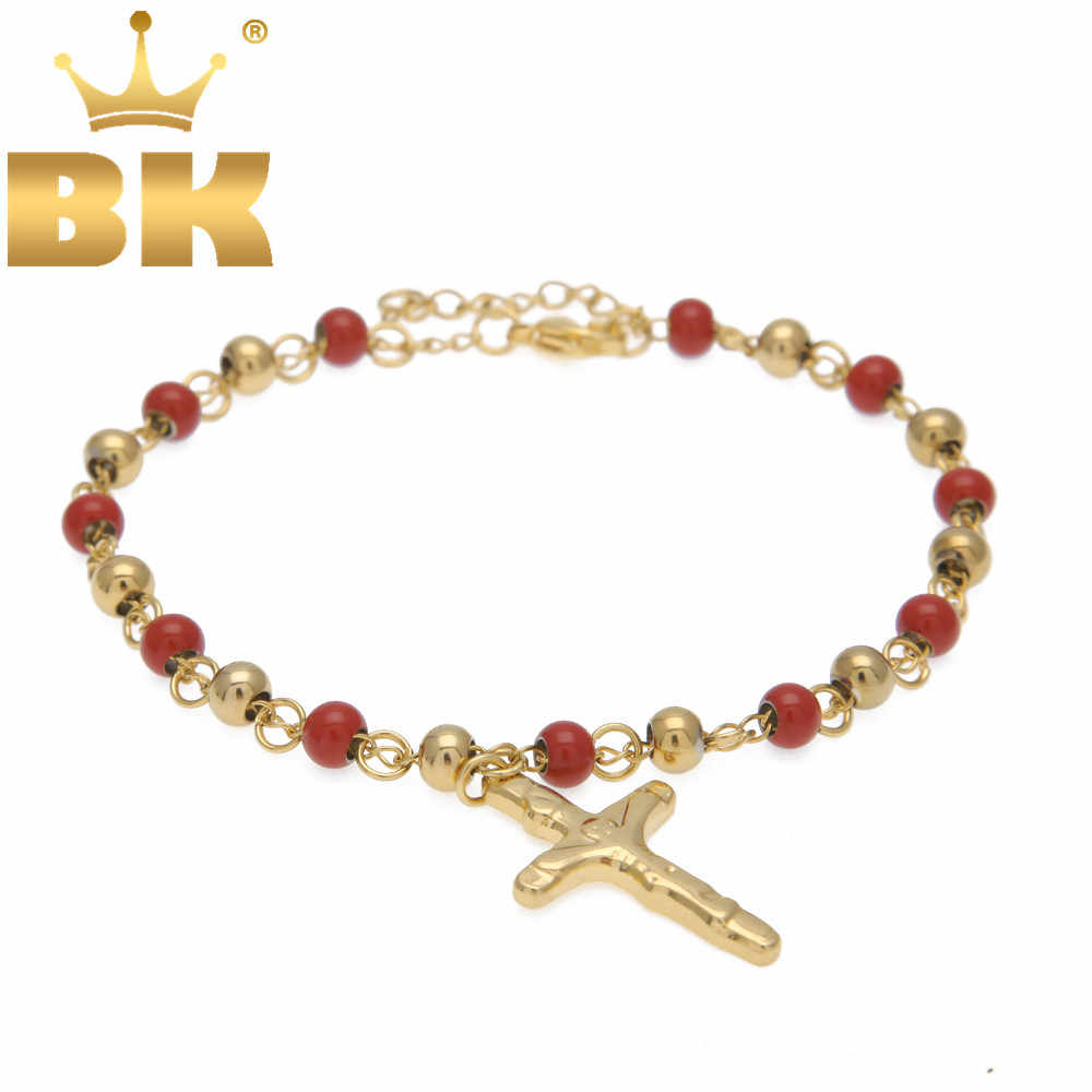 5 Colorful Rosary Bracelet Beads With Cross Jesus Top Quality Stainless Steel Fashion Hip hop Charm Bracelets For Women