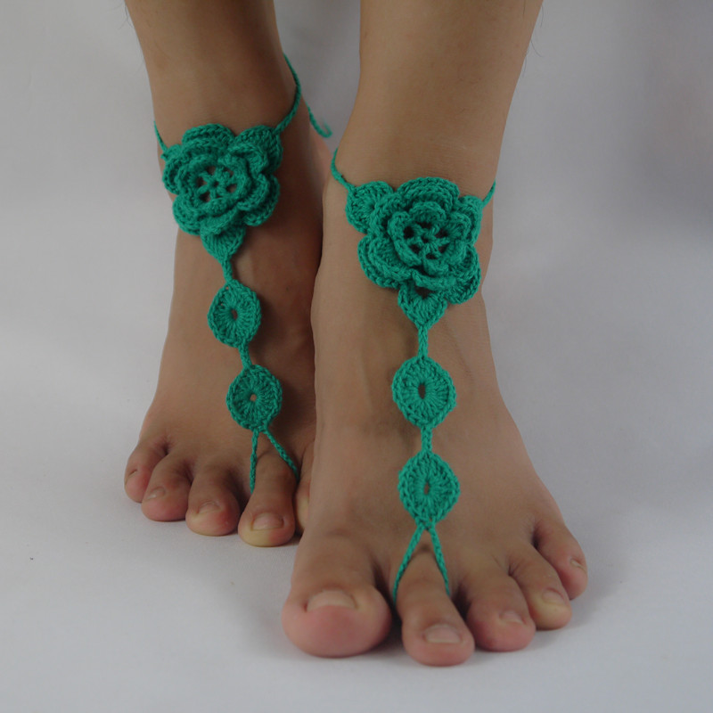 Hot Girls Handmade Green Triangle Chain Anklet Foot