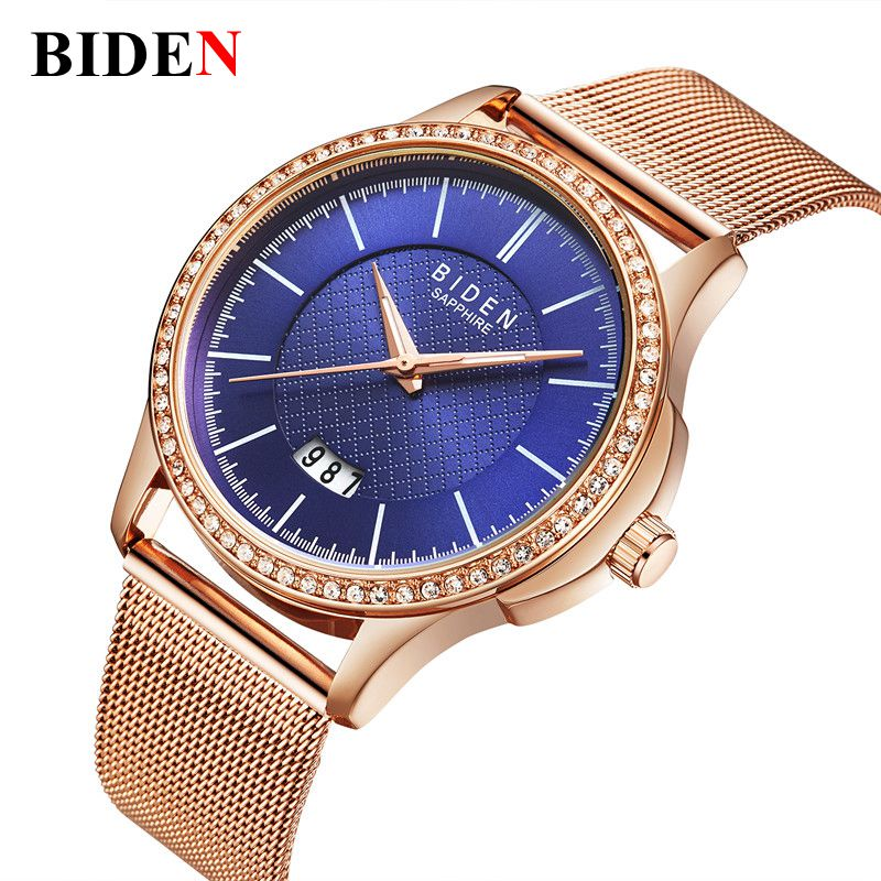 2017 NEW Biden Brand Luxury Women Watches Steel Business Quartz Ladies Watch Clock Fashion Dress Gold Bracelet Lovers Wristwatch 2016 luxury brand ladies quartz fashion new geneva watches women dress wristwatches rose gold bracelet watch free shipping