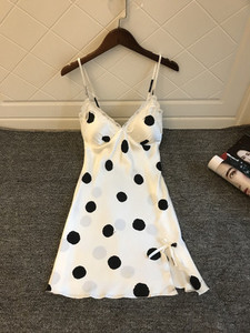 Image 5 - Daeyard Womens Silk Nightgown Sexy V Neck Lace Trim Sleepshirt Polka Dot Summer Dress Sleeveless Home Dress Sleepwear Homewear