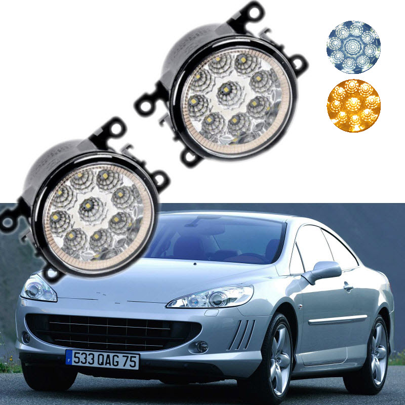 For <font><b>Peugeot</b></font> <font><b>407</b></font> <font><b>Coupe</b></font> 607 9D 9U 9-Pieces Leds Chips LED Fog Light Lamp H11 H8 12V 55W Halogen Fog Lights Car-Styling image