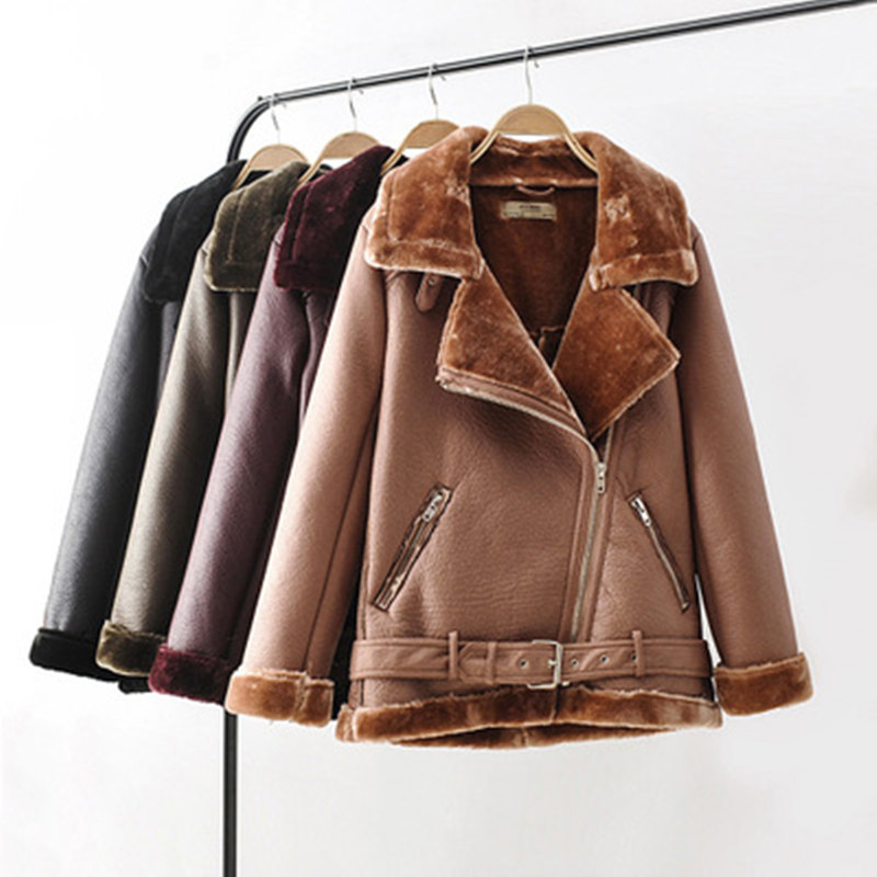 Causal Thick Winter Women PU Coat Turn-down Collar Solid Color Female Outside Faux Leather Top Jacket
