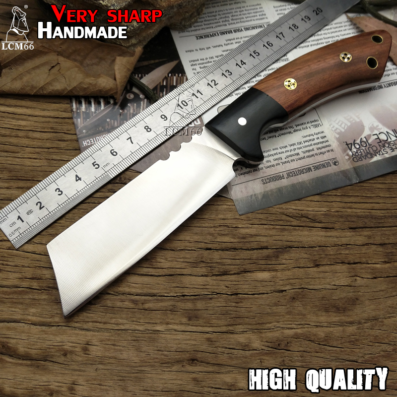 LCM66 Handmade Knife hunting fixed knife Very sharp 59 HRC ebony handle fruit Chef knife collection camping Outdoor knife tool