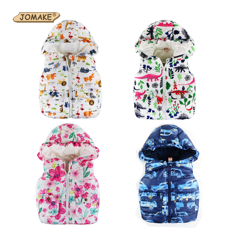2018 Winter Kids Vests Jackets Casual Baby Warm Waistcoat Boys Girls Hooded Vest Toddler Kids Outerwear&Coats Children Clothing