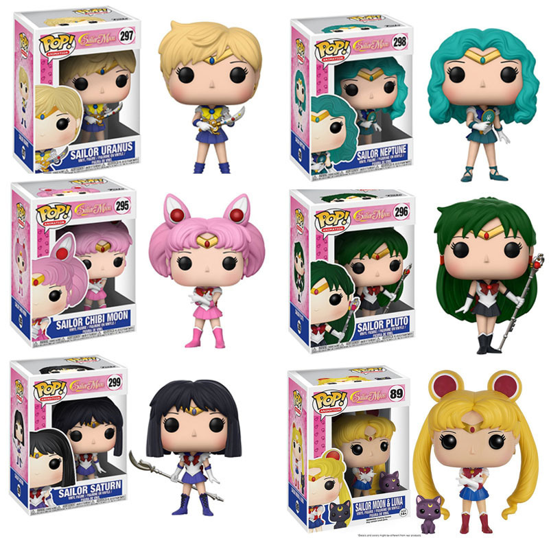 POP Sailor Moon & Luna Tema Figura Estátua Lebre Character Boneca Action Figure Sailor Netuno Sailor Chibi Lua Presente para meninas
