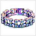"9.25""*19mm 155g Free Shipping Fashion 316L Stainless Steel Colorful Motorcycle Chain Men's Bracelet Bangle Biker Jewelry"