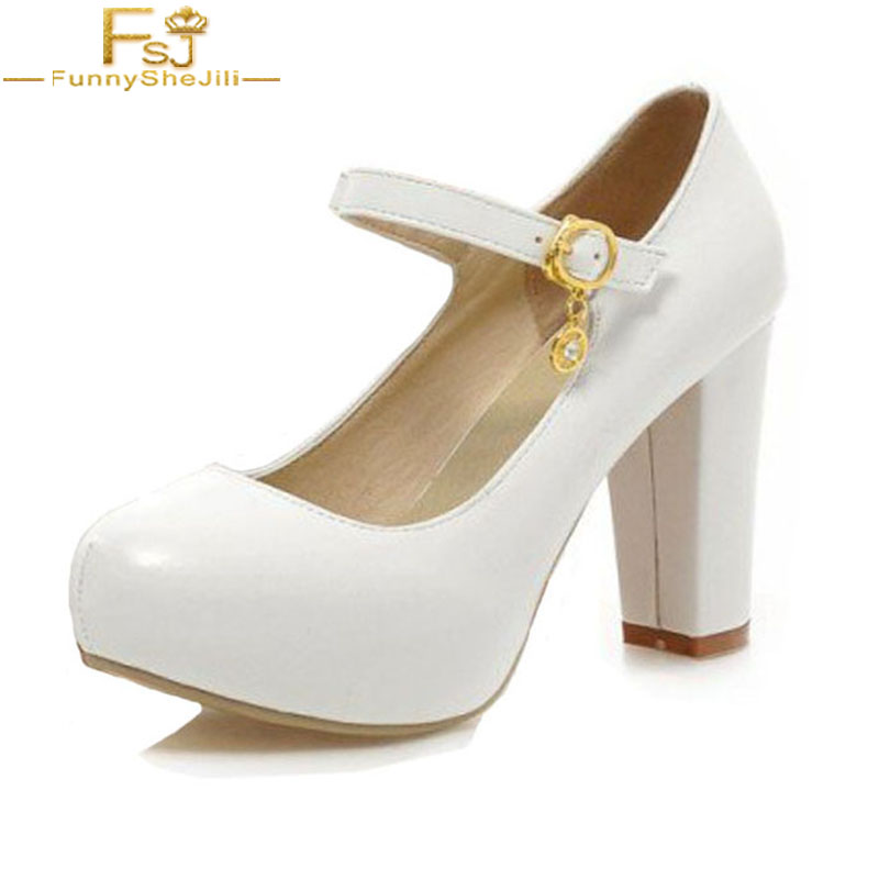 51585754cd4 US $78.99 |FSJ New Brand Sweety White Pearl Wide Width High Thick Heels  Platform Chunky Heel Mary Jane Pumps Wedding Party Shoes Woman 43-in  Women's ...