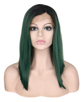 QQXCAIW Women Glueless Short Straight Lace Front Wig Black Ombre Green Synthetic Heat Resistant Natural Hairline Hair Wigs