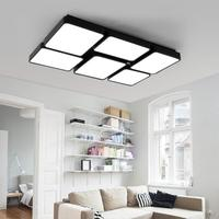 48 72W Large Led Office Ceiling Lamp Black White Squares Commercial Lighting School Living Room Study