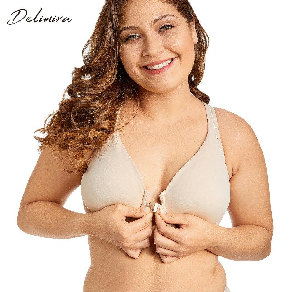ddfc24314 Delimira Women's Comfort Front Closure Non-padded X-back Underwire Plus  Size Bra
