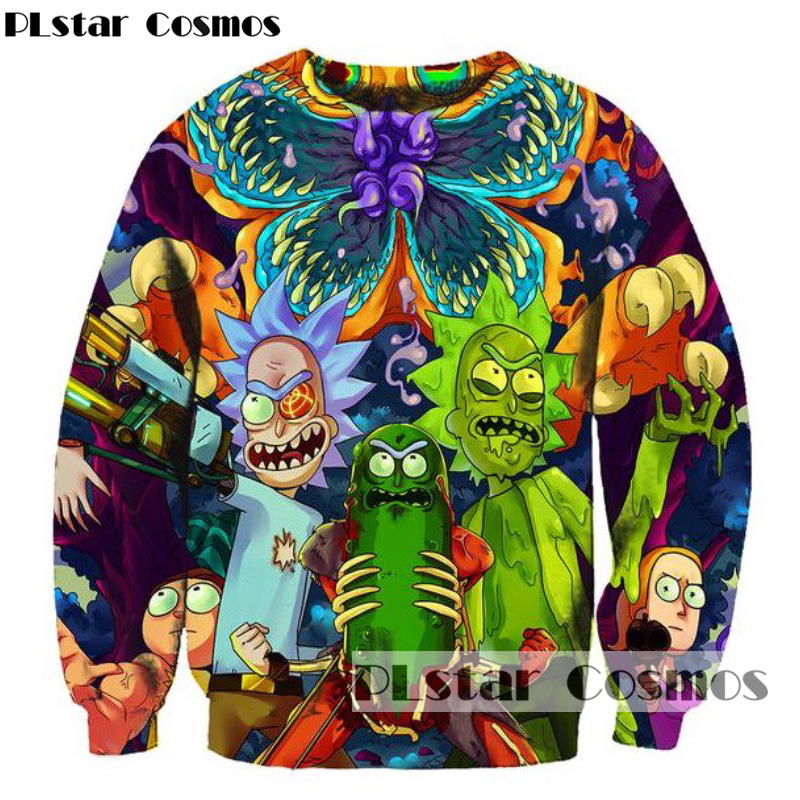 PLstar Cosmos  2018 New Sweatshirt Men/women Classic cartoon rick and morty 3d Print Sweatshirt Outwear Tracksuit free shipping