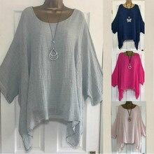 цены 2019 Women t-shirts Plus Size 5XL T-Shirt Linen O Neck Casual Loose Shirt Summer Autumn New Solid Batwing Long Sleeve