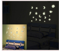 2017 Cartoon Kids DIY Home Decal Decor Glow In The Dark Wall Stickers Moon and Stars Kid's Bedroom Ceiling Decoration luminous