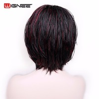 Wignee Braided Box Braid Wig Mixed Red Short Hair Heat Resistant Synthetic Bob Wig Crochet Twist Cosplay Fake Hair Wig For Women