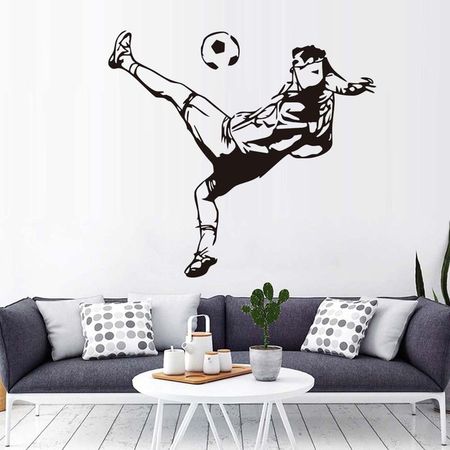 Football Wall Murals Creative School Wall Stickers Home Decor Self Adhesive  Wallpaper Sport Art Living Room Bedroom Decals
