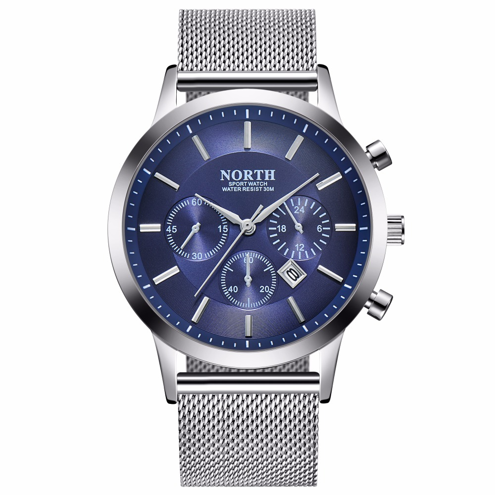 NORTH brand men's watches simple quartz watch men steel mesh strap quartz-watch Ultra-thin clock relogio masculino biden men s watches new luxury brand watch men fashion sports quartz watch stainless steel mesh strap ultra thin dial date clock