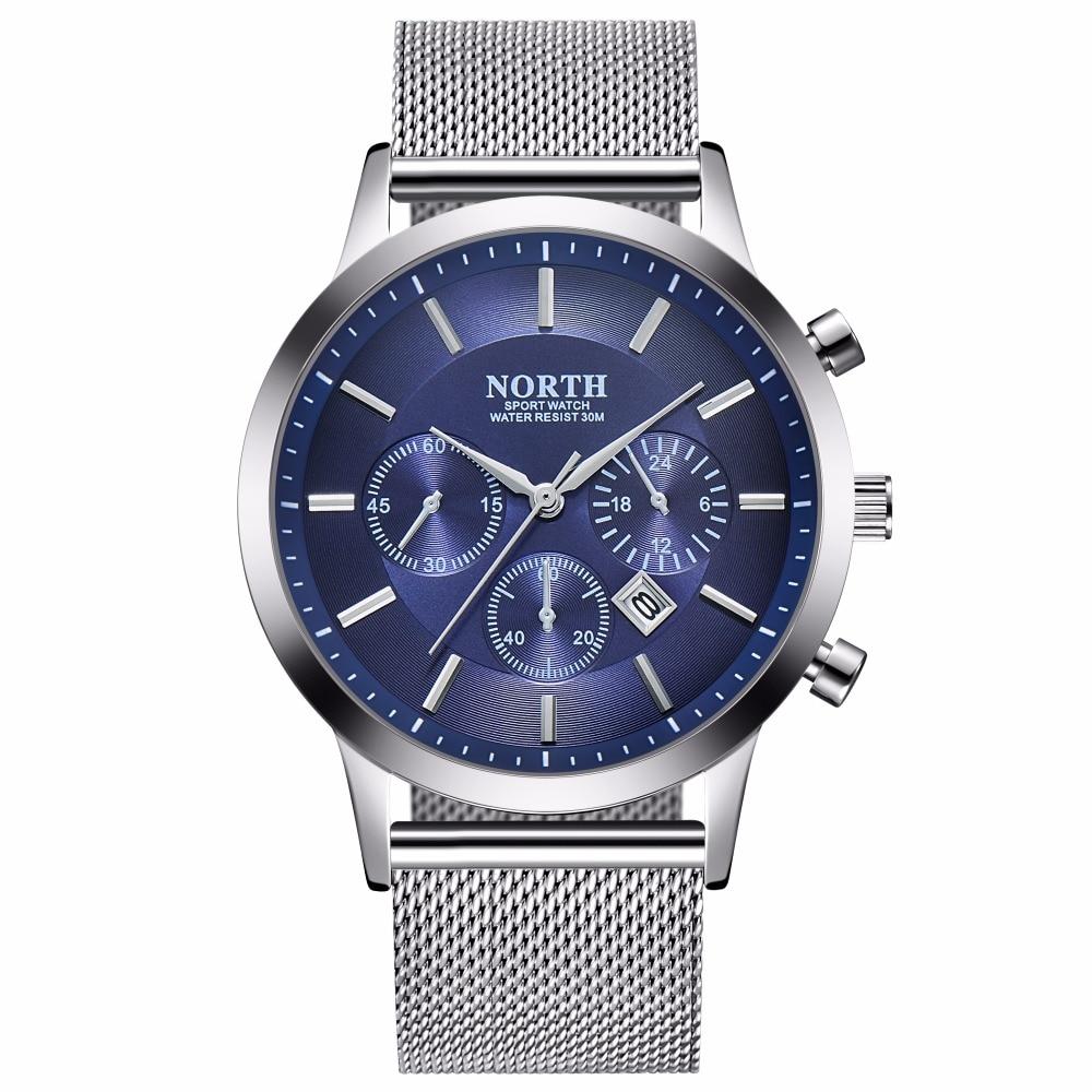 NORTH brand men's watches simple quartz watch men steel mesh strap quartz-watch Ultra-thin clock relogio masculino