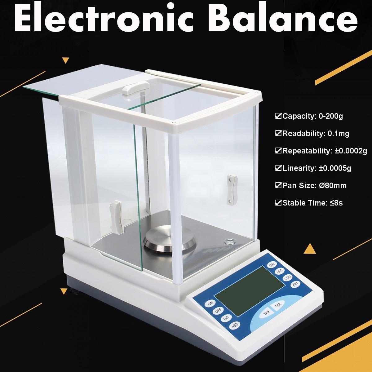 ZEAST 200/0.0001g 0.1 mg 100-240 v Digitale di Precisione Bilancia Laboratorio Bilancia Analitica Bilancia Elettronica di Alluminio di Base in lega di