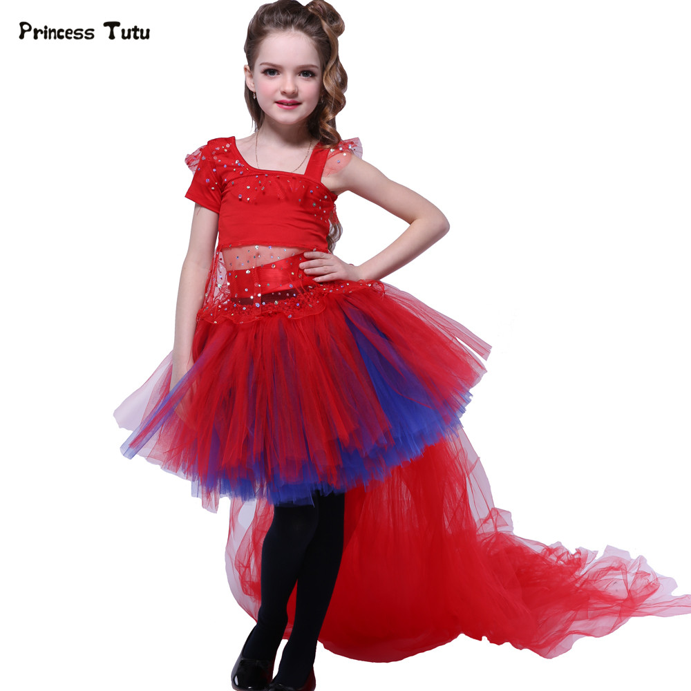 Removable Train Tail Tutu Skirt Set For Kids Birthday Party Gowns Girls Clothing Sets Children Girl Dance Performance Costumes lady bug girls t shirt set tutu skirt and headband girl tutu sets birthday festival party cosplay children s clothing pt57